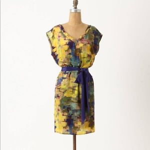 Anthropologie | Maeve Silk Watercolor Shift Dress